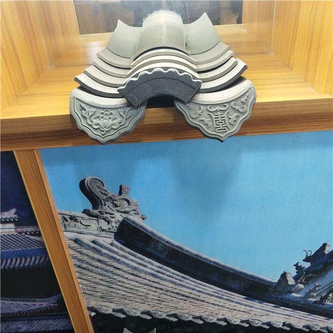 高涛瓷业古建筑屋面连体瓦 屋檐小青瓦 别墅装饰用青灰瓦 仿古黏土筒瓦