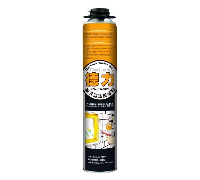 750ML德力槍式B3聚氨酯泡沫填縫劑(黃色)許昌品牌建材
